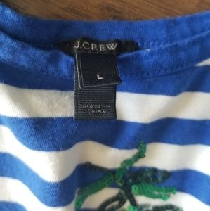 J. Crew Tops - J.Crew Striped Palm Sequence Tank Top Size L